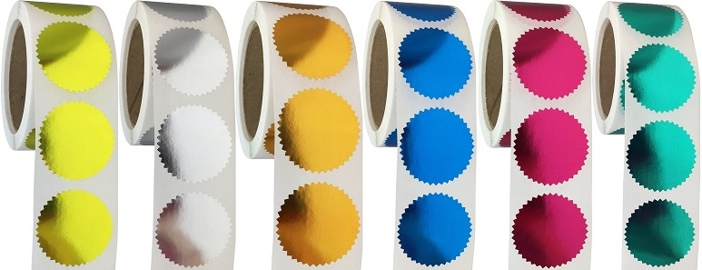 "2/"" Diameter Pack of 50 NEW Foil Starburst Seals for Impression Seal Embosser"