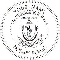 Massachusetts Round Official Seal Stamp